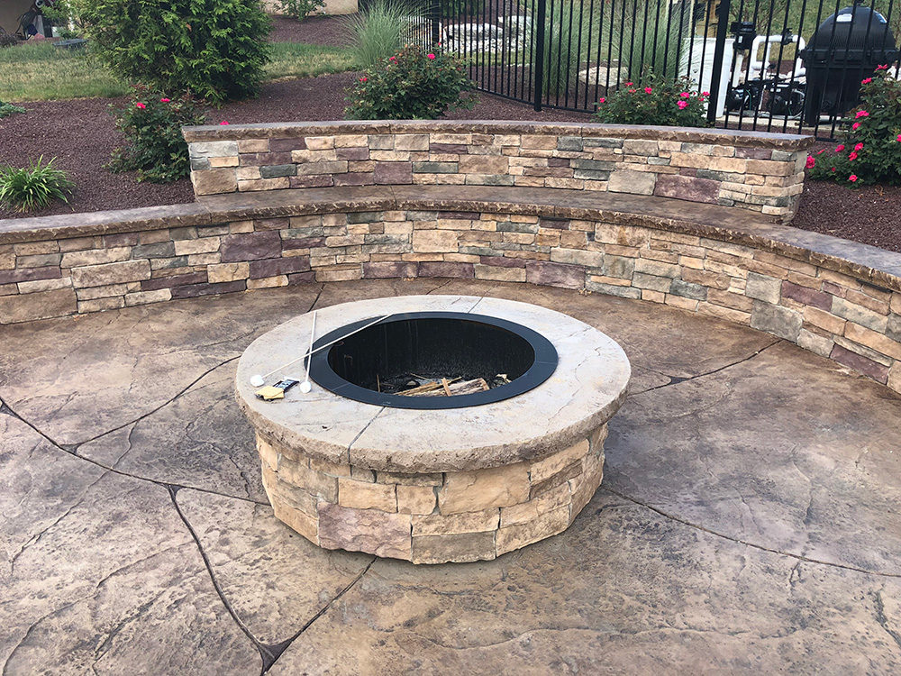 Stamped concrete project with masonry fire pit